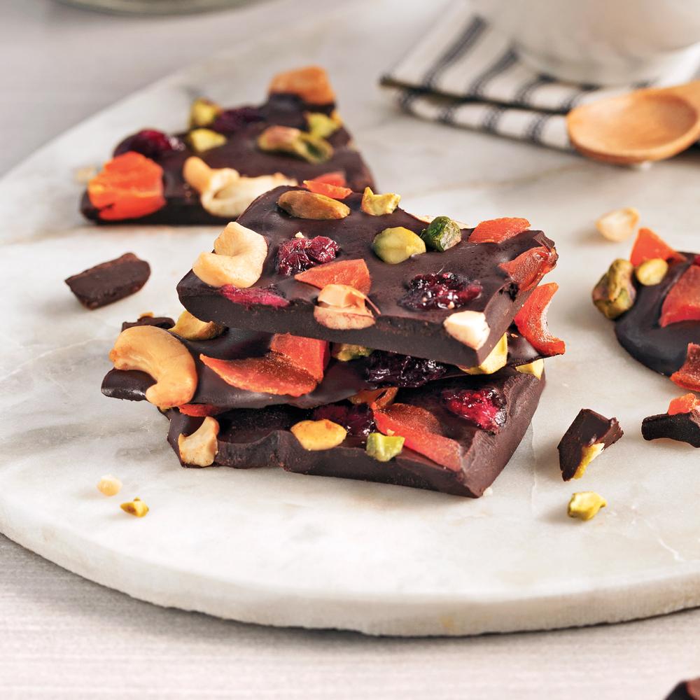 Éclats de chocolat aux fruits séchés et noix
