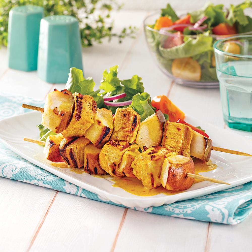 Brochettes de poulet cari-coco