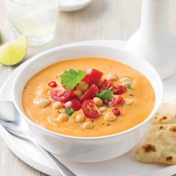 Soupe-repas aux tomates, lentilles et pois-chiches