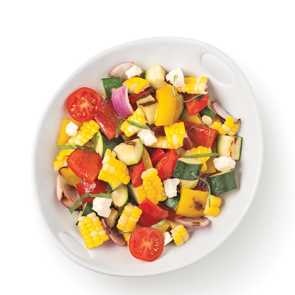 Salade de maïs et légumes grillés