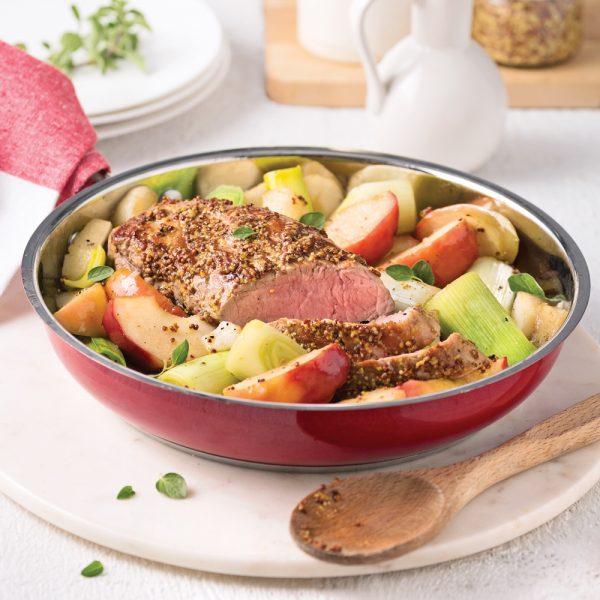 One pot au porc, poireaux et pommes caramélisés à l'érable