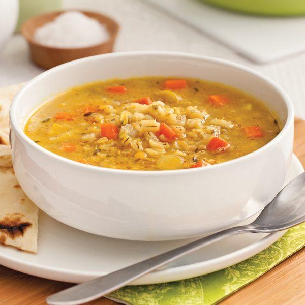 Soupe d'orge et lentilles à l'indienne