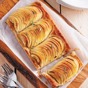 Tarte croustillante pommes et romarin