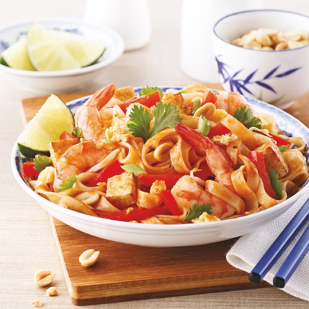 Pad thaï aux crevettes et tofu