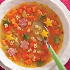 Soupe alphabet au jambon et légumes