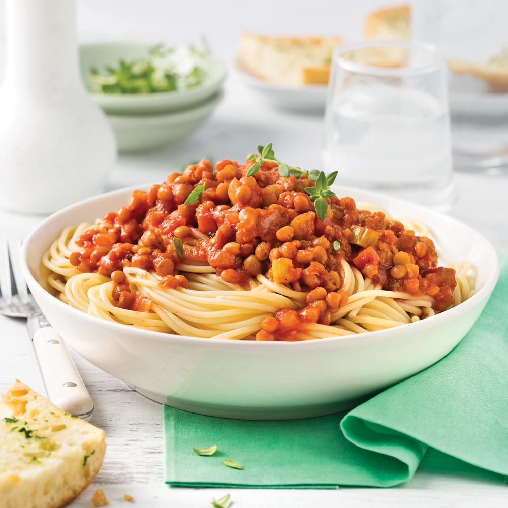 Sauce à spaghetti aux lentilles et saucisses