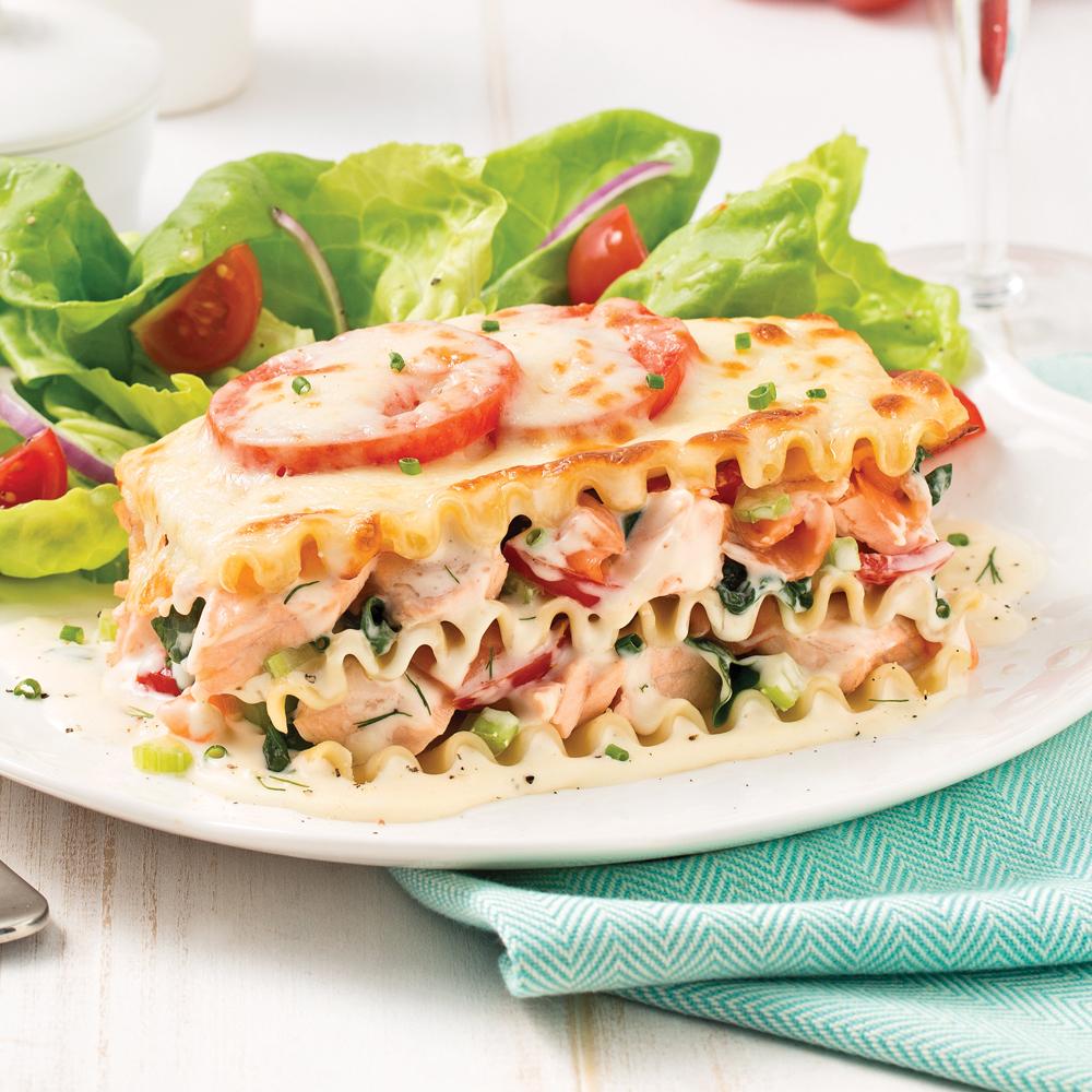 Lasagne aux deux saumons et légumes