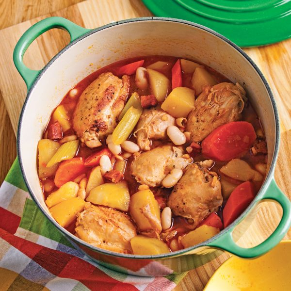 Mijoté de hauts de cuisses au chorizo et haricots