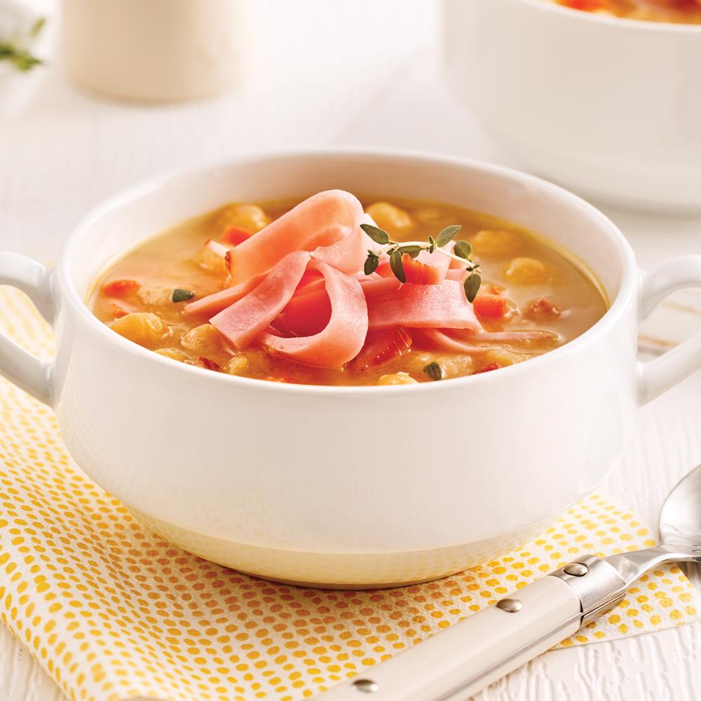 Soupe aux pois parfaite pour les lunchs