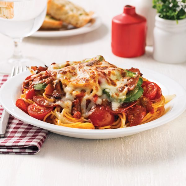 Spaghetti gratiné style pizza