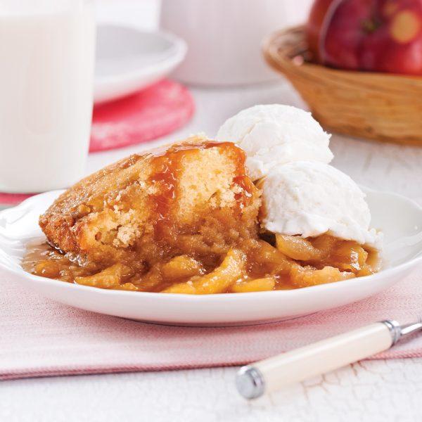Pouding chômeur aux pommes caramélisées à la mijoteuse