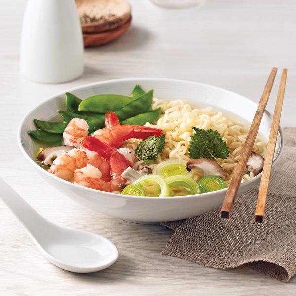 Soupe ramen aux crevettes style Poke Bowl