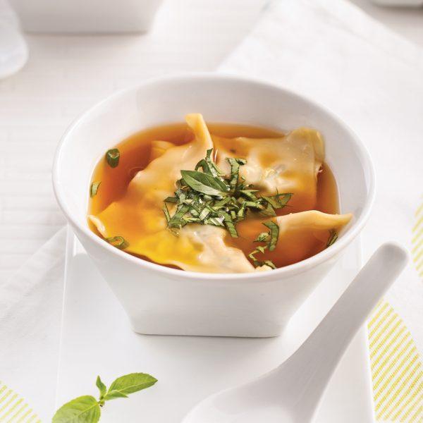 Soupe de raviolis thaï aux crevettes