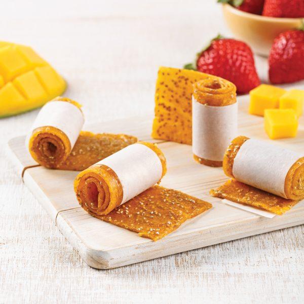 Rouleaux fruités à la mangue et au chia