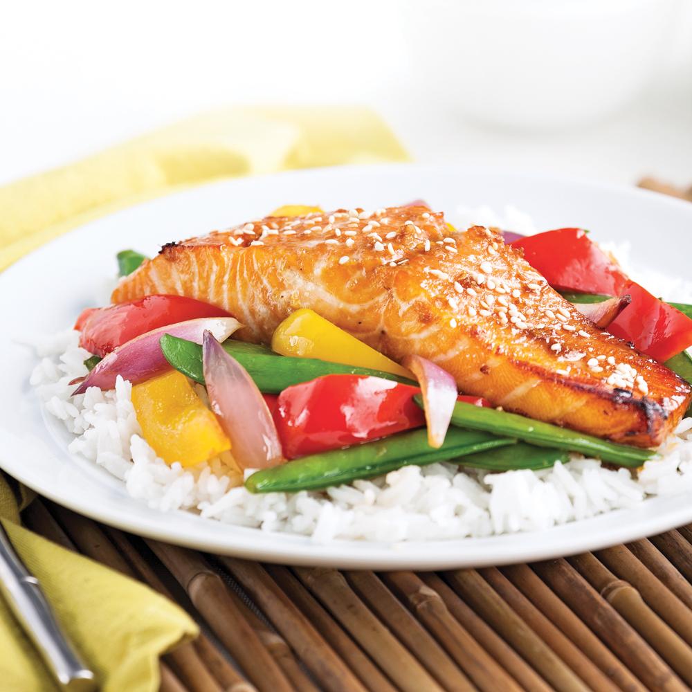 Saumon laqué teriyaki et légumes grillés