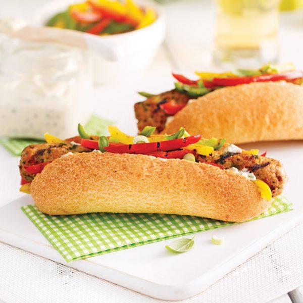 Hot-dog de veau et légumes grillés