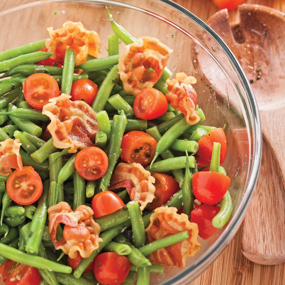 Salade de haricots verts et pancetta