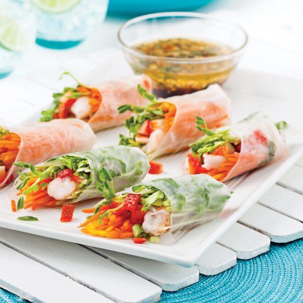 Rouleaux de printemps aux crevettes et fraises