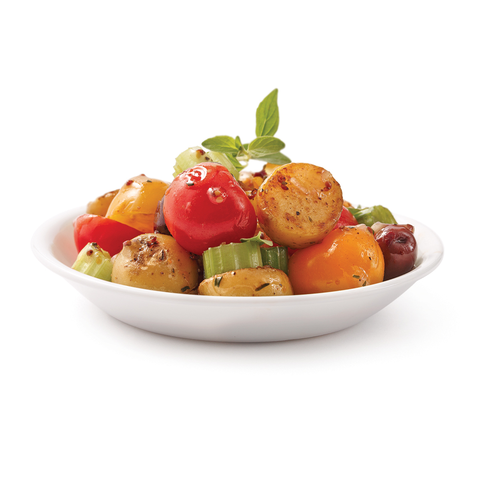Salade de tomates, pommes de terre grelots et olives