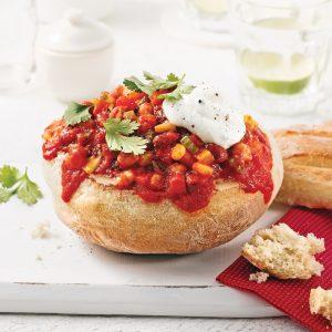 Chili végé dans un pain