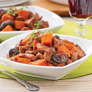 Mijoté de veau aux patates douces et pruneaux