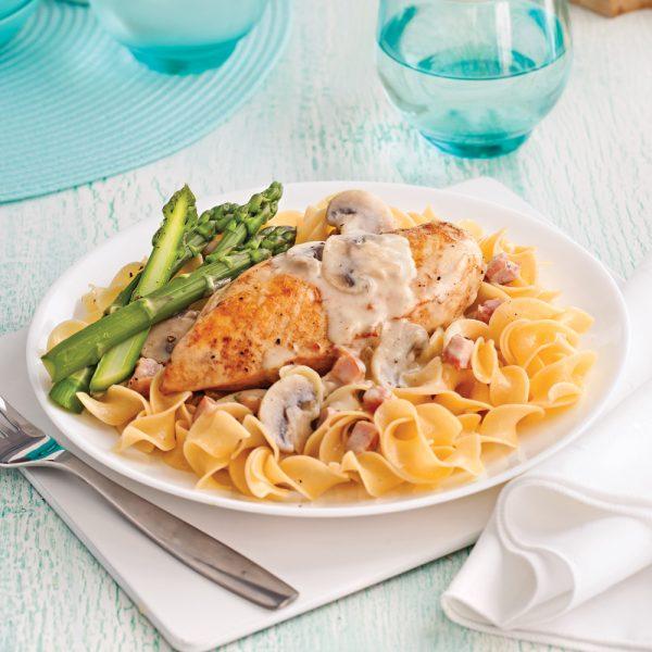 Poitrines de poulet au vin blanc et champignons