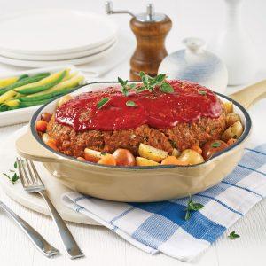 Pain de viande et pommes de terre rôties