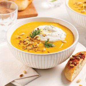 Potage lentilles, carottes et beurre de noix de cajou