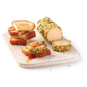 Foie gras au torchon en croûte de pistaches et coulis d'orange