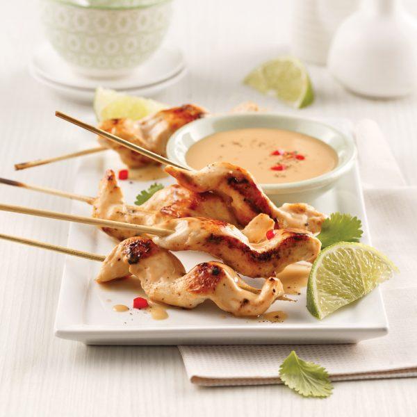 Brochettes thaïes, sauce coco, lime et citronnelle