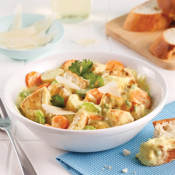 Mijoté de poulet ail et parmesan