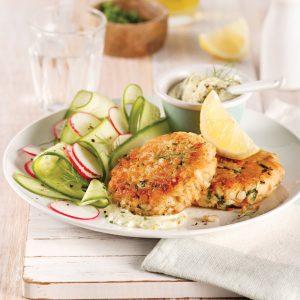 Galettes de saumon et pommes de terre