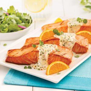 Pavés de saumon à l'orange, citron et gingembre