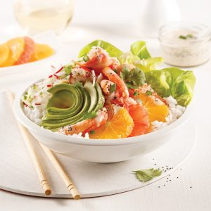 Poke bowl au crabe, oranges et pamplemousses