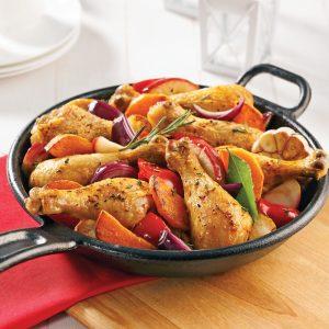 Pilons de poulet aux légumes et pommes