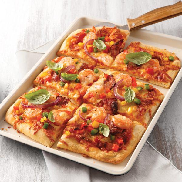 Pizza bacon et crevettes