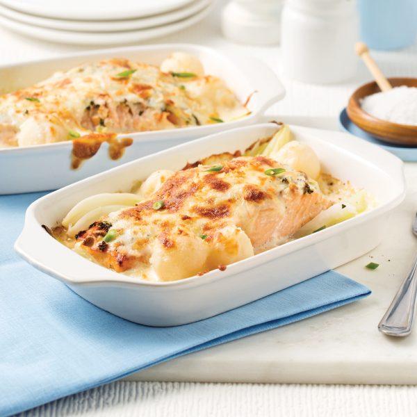 Gratin de saumon fenouil et pommes de terre parisiennes