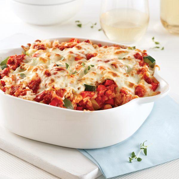 Casserole de riz à l'italienne aux légumes et sauce au tofu