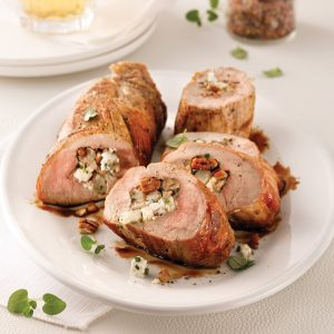 Filet de porc farci à la poire, fromage de chèvre et pacanes