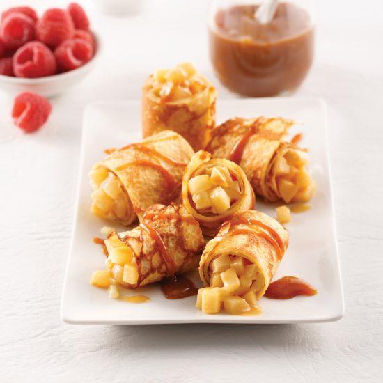 Bouchées de crêpes aux poires et dulce de leche façon sushi