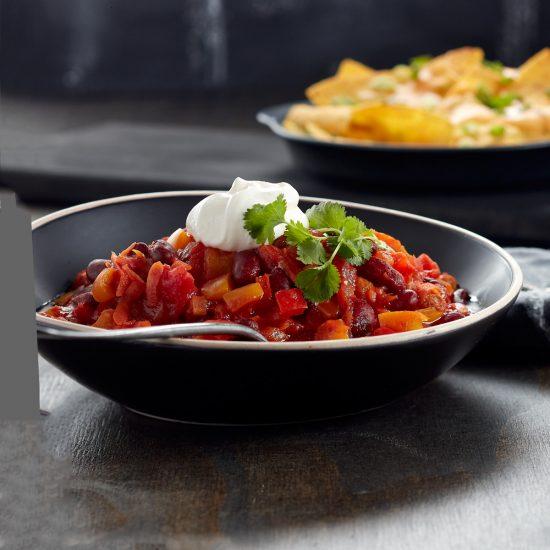 Chili végé et nachos