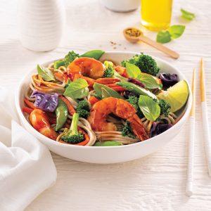 Sauté de crevettes et légumes, sauce aigre-douce
