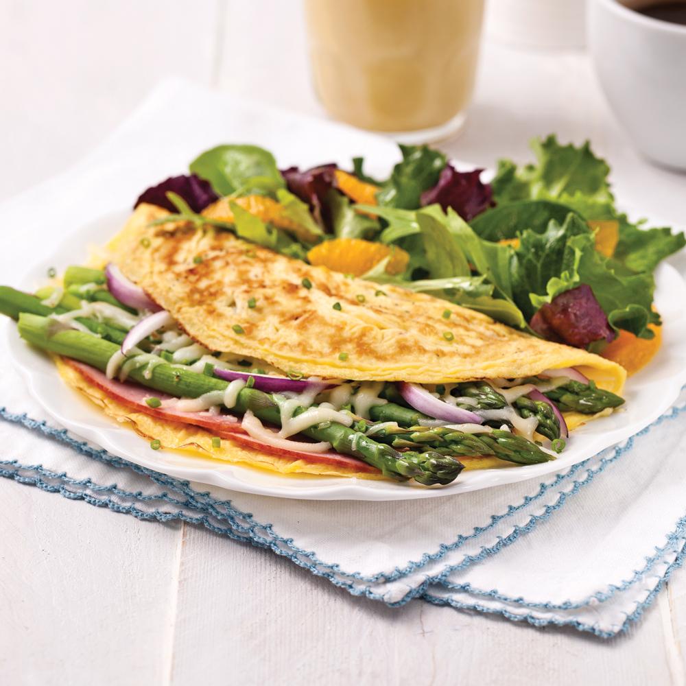 Omelette jambon-asperges