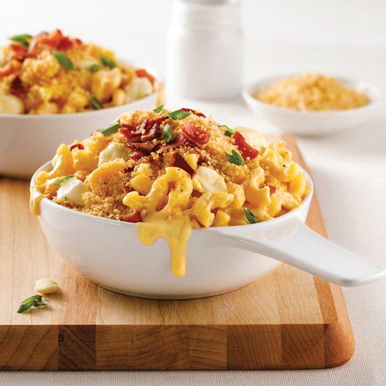 Mac'n cheese au bacon et fromage en grains