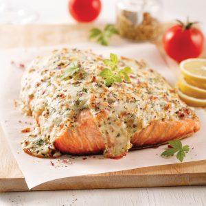 Filet de saumon gratiné