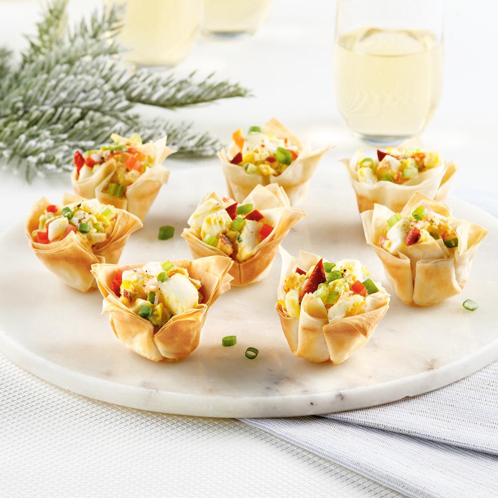 Mini-coupelles style guédilles aux oeufs et homard