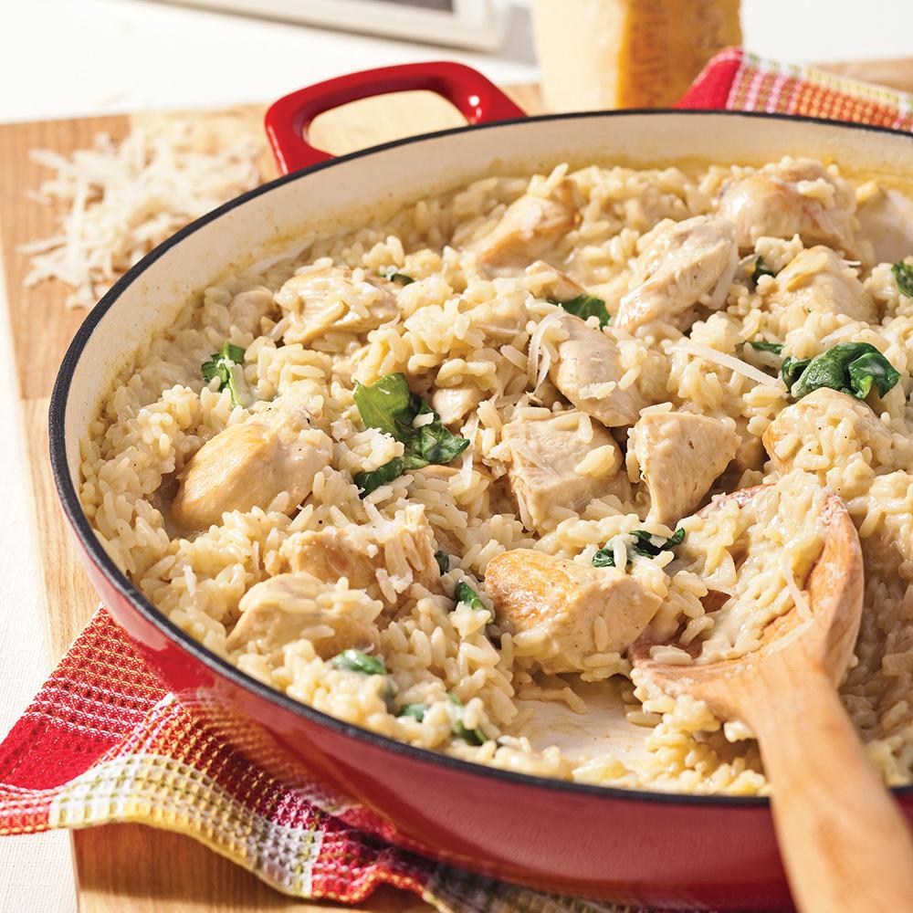 Casserole de poulet et riz crémeux aux épinards