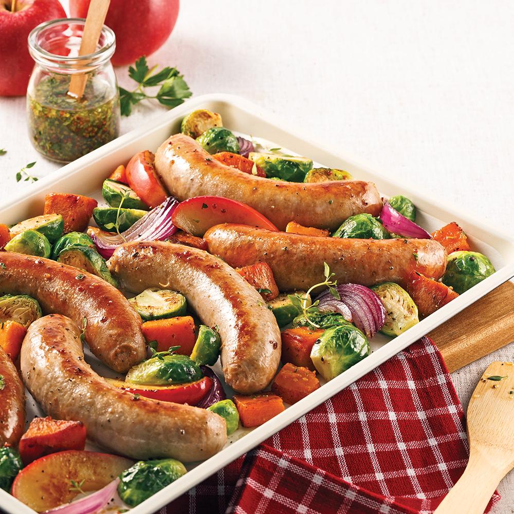 Plaque de saucisses, patate douce et choux de Bruxelles
