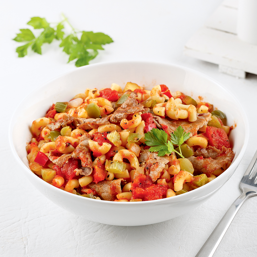 Macaroni à la viande à fondue
