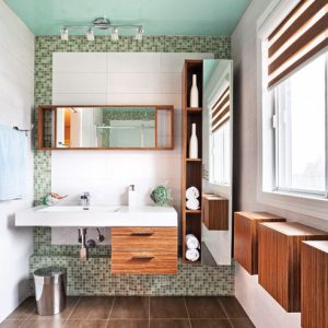 Cubes de rangement à la salle de bain